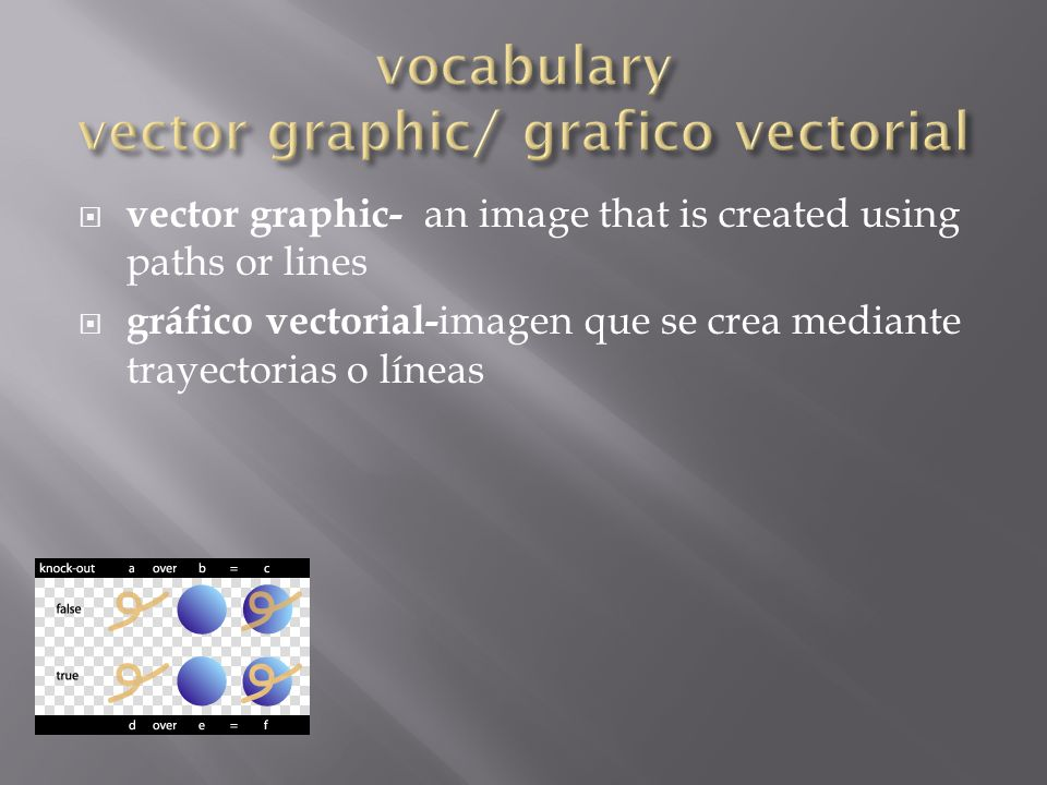  vector graphic- an image that is created using paths or lines  gráfico vectorial- imagen que se crea mediante trayectorias o líneas