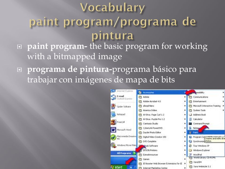  paint program- the basic program for working with a bitmapped image  programa de pintura- programa básico para trabajar con imágenes de mapa de bits