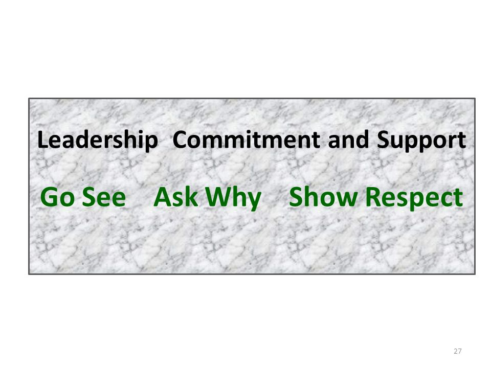 27 Leadership Commitment and Support Go See Ask Why Show Respect