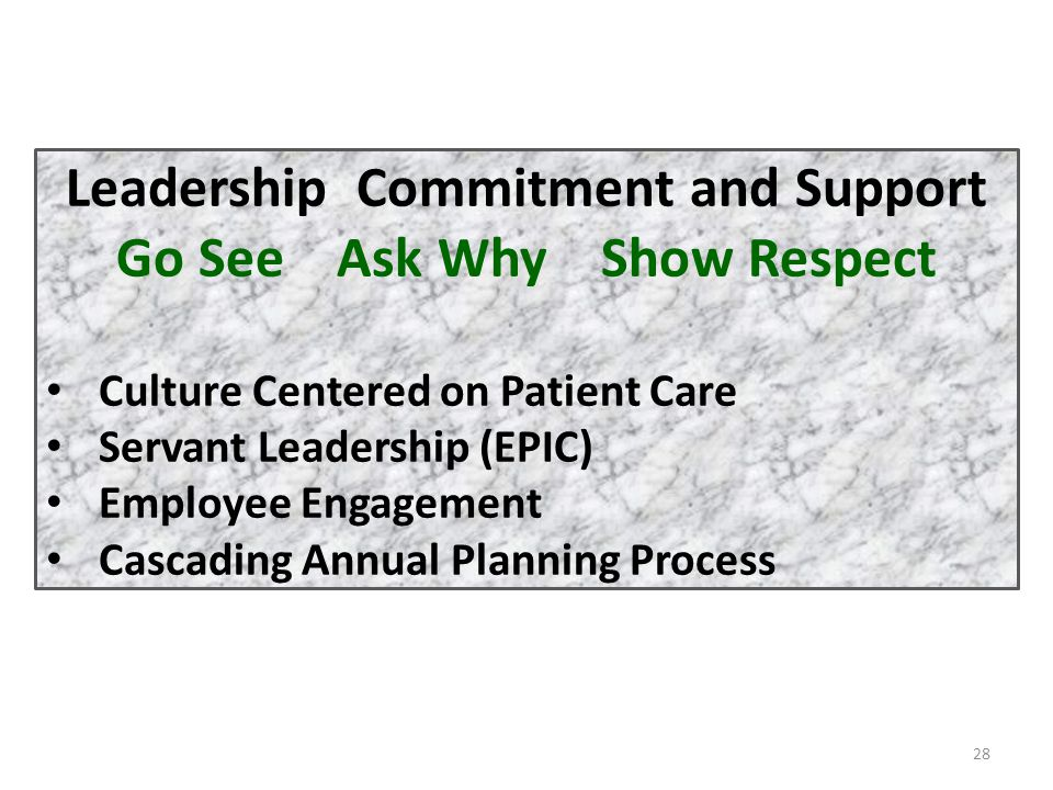 28 Leadership Commitment and Support Go See Ask Why Show Respect Culture Centered on Patient Care Servant Leadership (EPIC) Employee Engagement Cascad