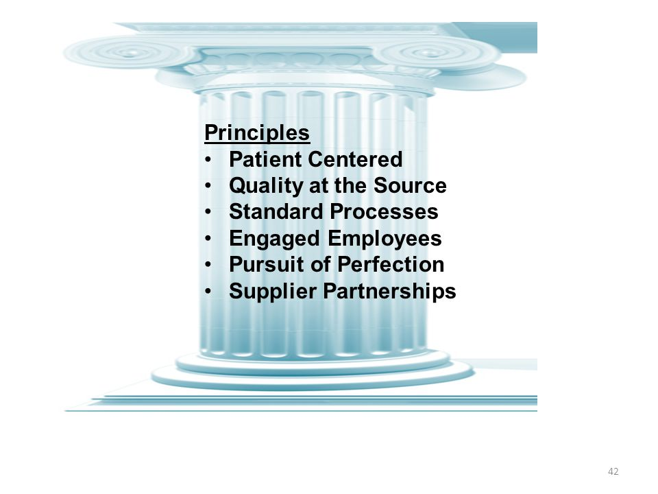 42 Principles Patient Centered Quality at the Source Standard Processes Engaged Employees Pursuit of Perfection Supplier Partnerships