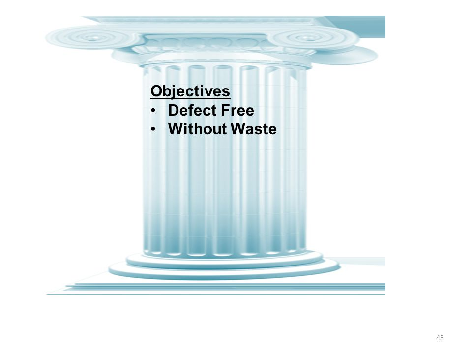 43 Objectives Defect Free Without Waste