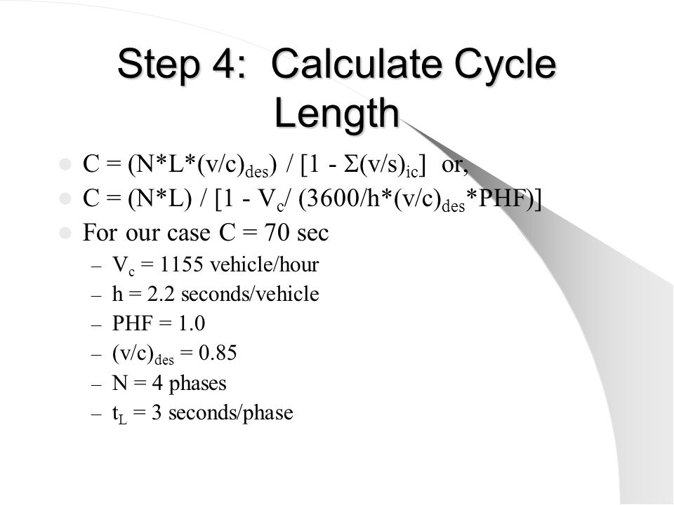 Step 4: Calculate Cycle Length (cont.) What would the cycle length be if their were no overlaps.