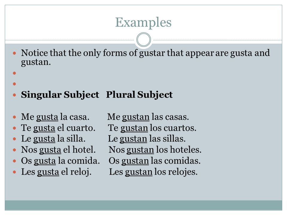 Examples Notice that the only forms of gustar that appear are gusta and gustan. Singular Subject Plural Subject Me gusta la casa. Me gustan las casas.