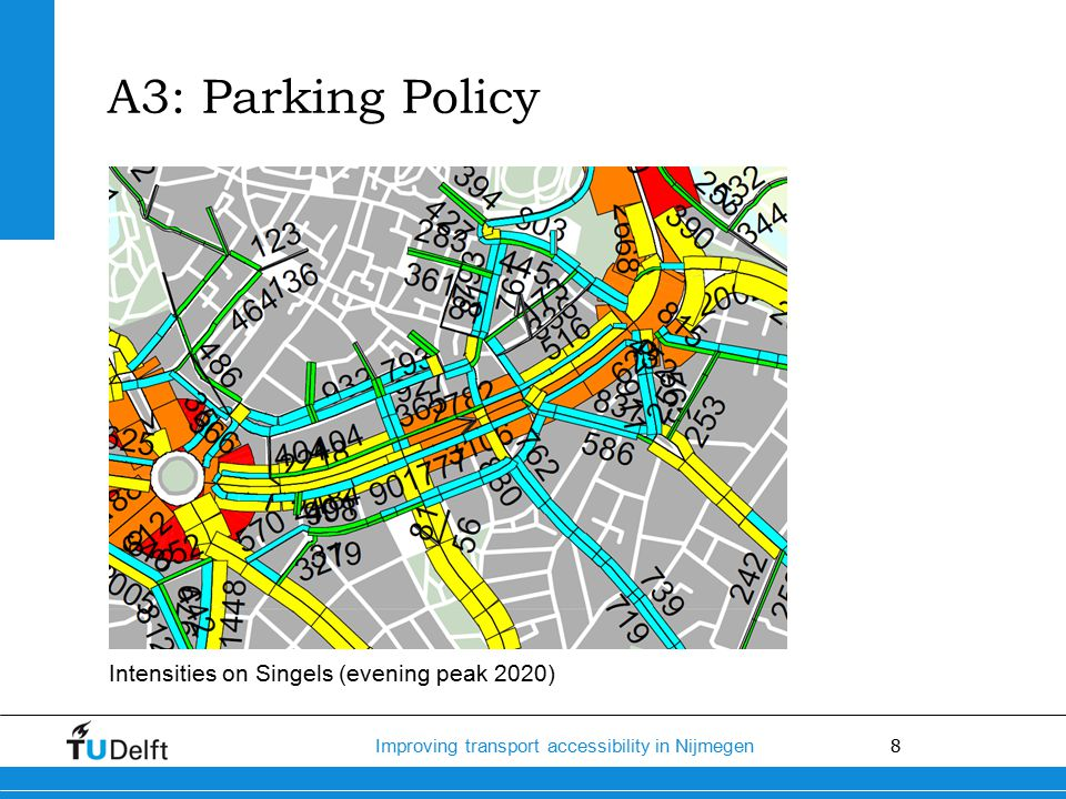 8 Improving transport accessibility in Nijmegen Intensities on Singels (evening peak 2020) A3: Parking Policy