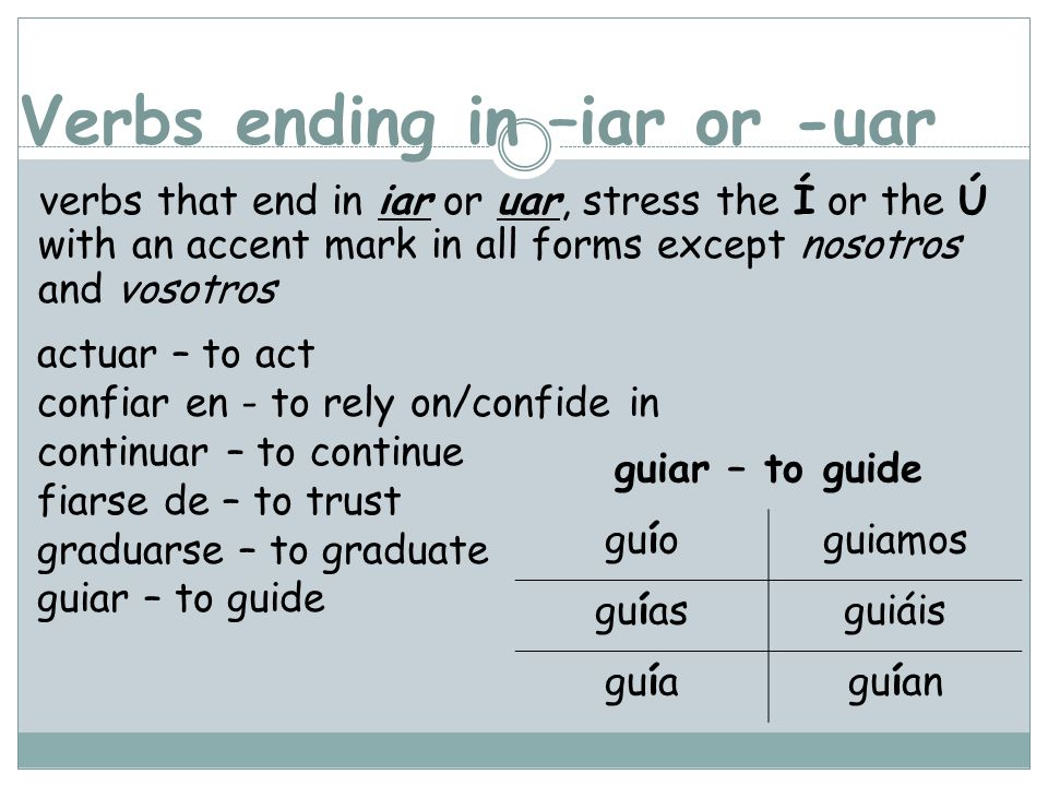 Verbs ending in –iar or -uar verbs that end in iar or uar, stress the Í or the Ú with an accent mark in all forms except nosotros and vosotros actuar