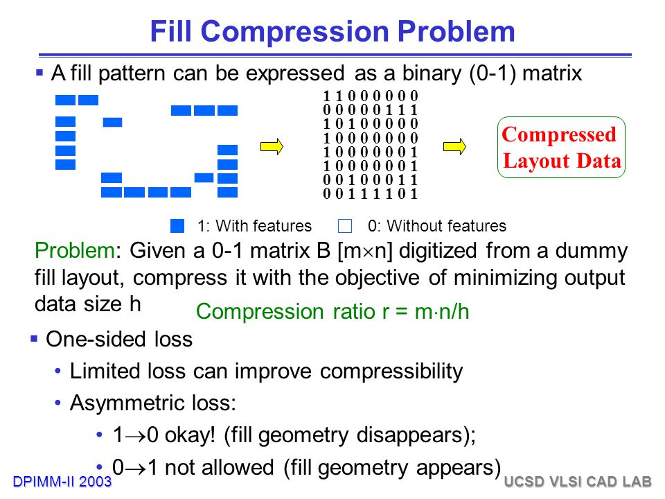 DPIMM-II 2003 UCSD VLSI CAD LAB Fill Compression Problem 1 1 0 0 0 0 0 0 0 0 0 0 0 1 1 1 1 0 1 0 0 0 0 0 1 0 0 0 0 0 0 0 1 0 0 0 0 0 0 1 0 0 1 0 0 0 1 1 0 0 1 1 1 1 0 1 Compressed Layout Data 1: With features0: Without features  A fill pattern can be expressed as a binary (0-1) matrix Problem: Given a 0-1 matrix B [m  n] digitized from a dummy fill layout, compress it with the objective of minimizing output data size h Compression ratio r = m  n/h  One-sided loss Limited loss can improve compressibility Asymmetric loss: 1  0 okay.