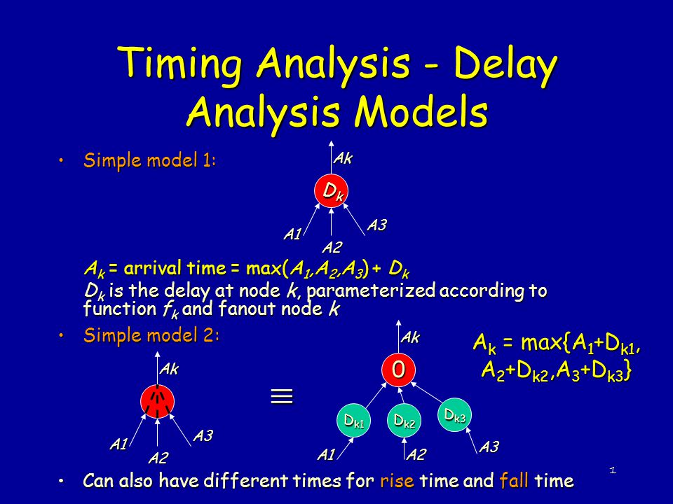 1 Timing Analysis - Delay Analysis Models Simple model 1:Simple model 1: A k = arrival time = max(A 1,A 2,A 3 ) + D k D k is the delay at node k, para