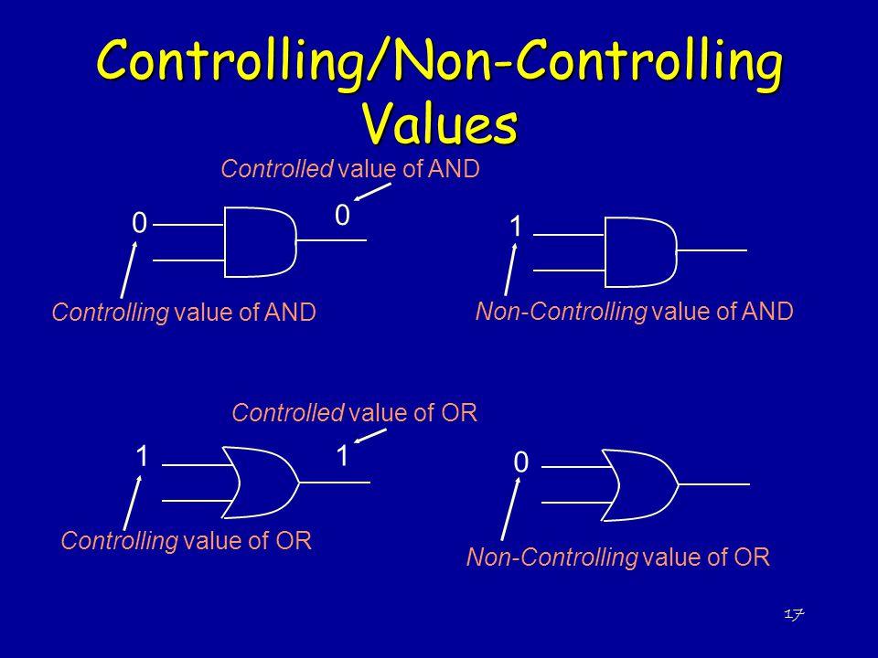 17 Controlling/Non-Controlling Values 0 0 1 Controlling value of AND Controlled value of AND 1 1 Controlling value of OR Controlled value of OR Non-Co