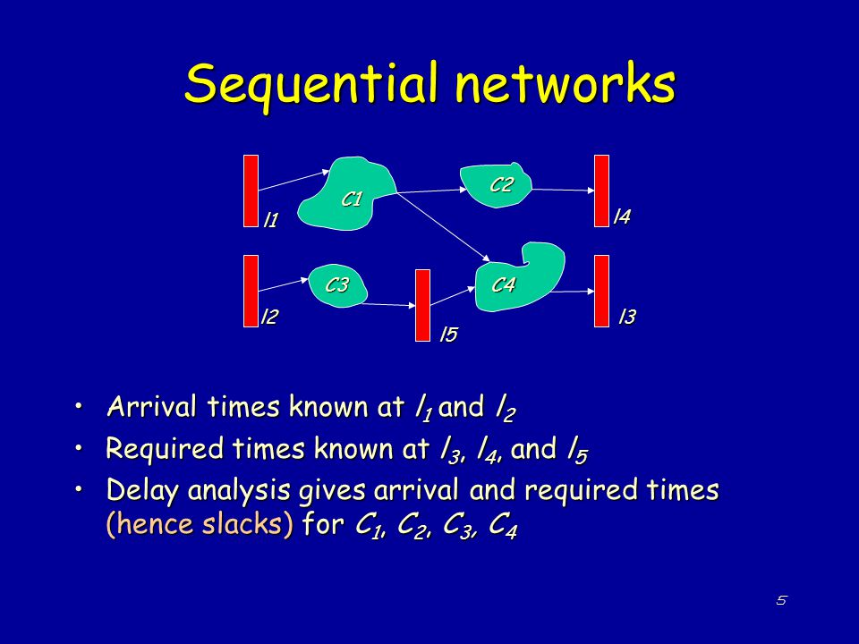 5 Sequential networks Arrival times known at l 1 and l 2Arrival times known at l 1 and l 2 Required times known at l 3, l 4, and l 5Required times kno