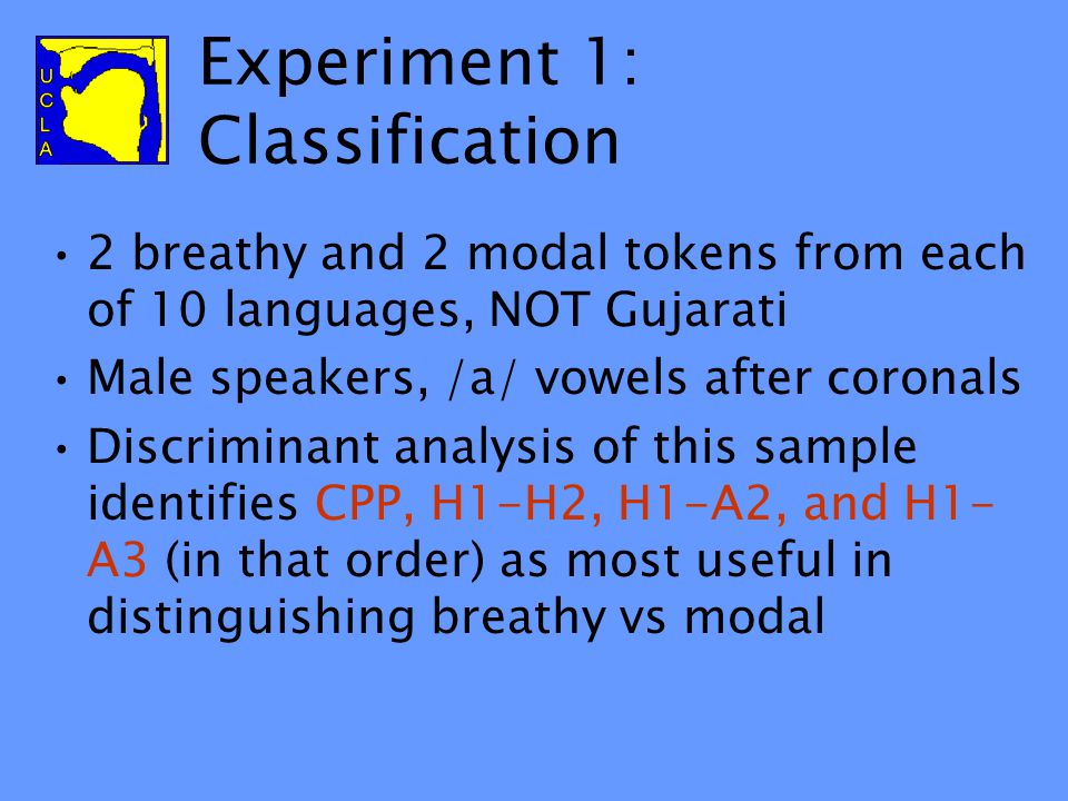 Perception of modal vs. breathy (Esposito 2006) 2 experiments using different tasks and contrasting vowels from different languages 3 listener groups