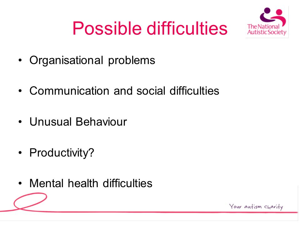 Possible difficulties Organisational problems Communication and social difficulties Unusual Behaviour Productivity.