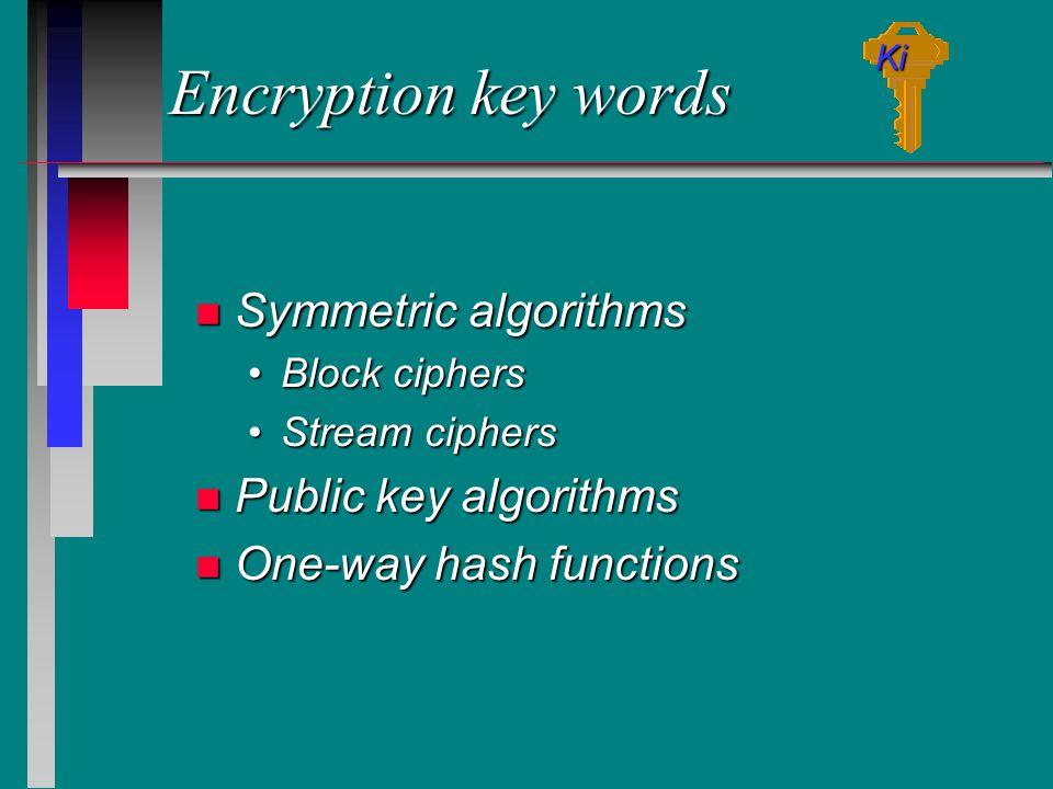 Encryption key words n Symmetric algorithms Block ciphersBlock ciphers Stream ciphersStream ciphers n Public key algorithms n One-way hash functions Ki