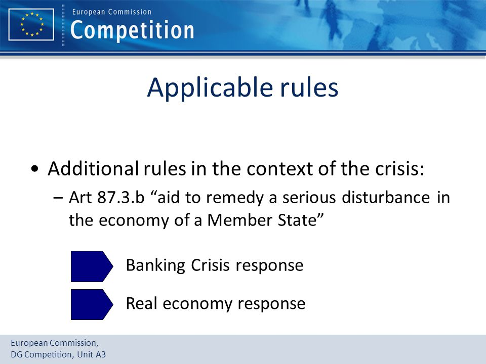 "European Commission, DG Competition, Unit A3 Applicable rules Additional rules in the context of the crisis: –Art 87.3.b ""aid to remedy a serious dist"