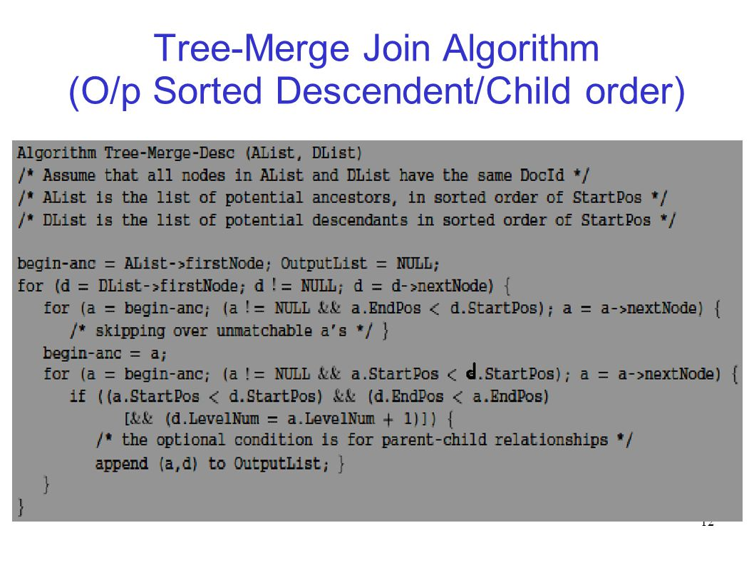 12 Tree-Merge Join Algorithm (O/p Sorted Descendent/Child order)‏