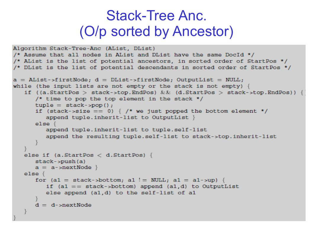 23 Stack-Tree Anc. (O/p sorted by Ancestor)‏