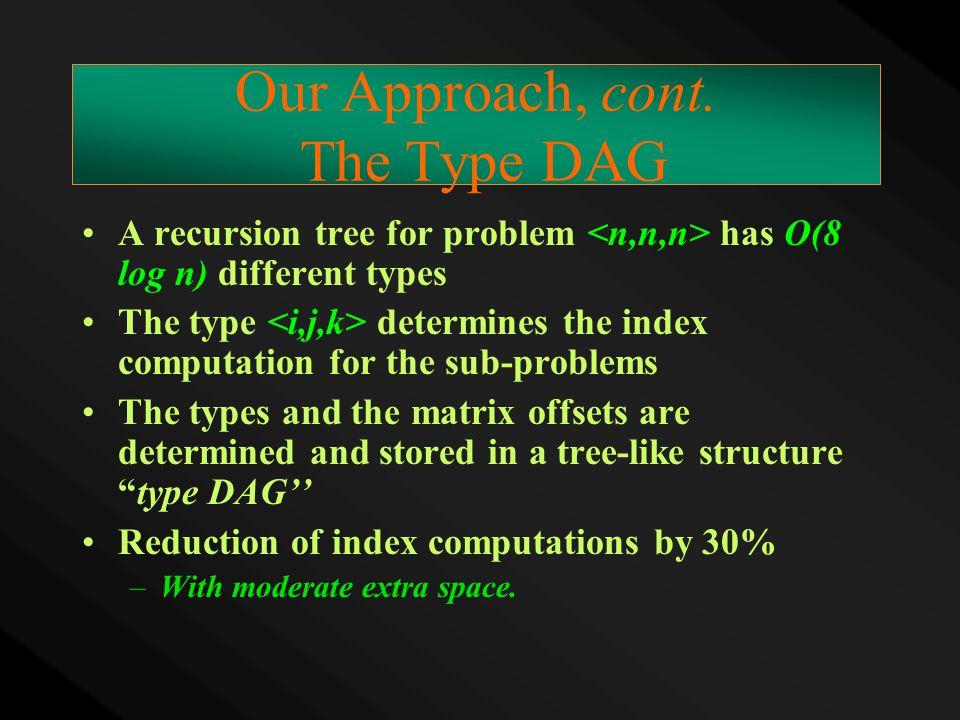 Our Approach, cont. The Type DAG A recursion tree for problem has O(8 log n) different types The type determines the index computation for the sub-pro