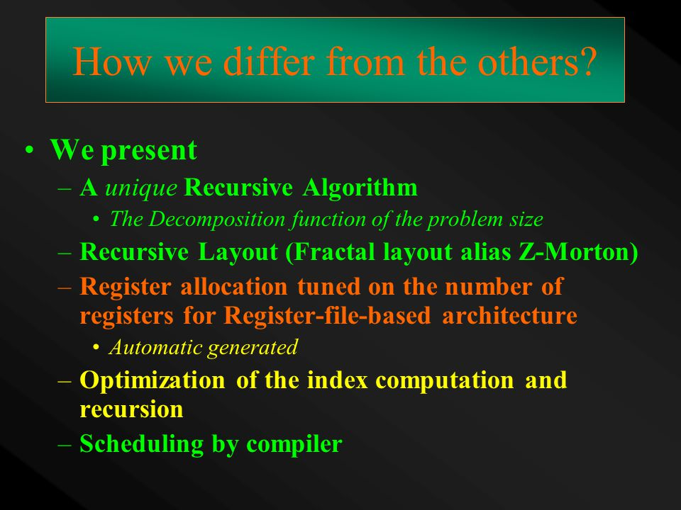 How we differ from the others? We present –A unique Recursive Algorithm The Decomposition function of the problem size –Recursive Layout (Fractal layo