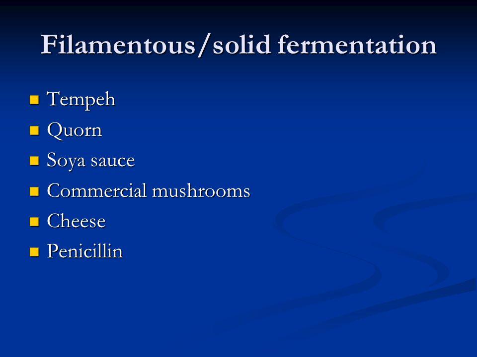 Filamentous/solid fermentation Tempeh Tempeh Quorn Quorn Soya sauce Soya sauce Commercial mushrooms Commercial mushrooms Cheese Cheese Penicillin Peni