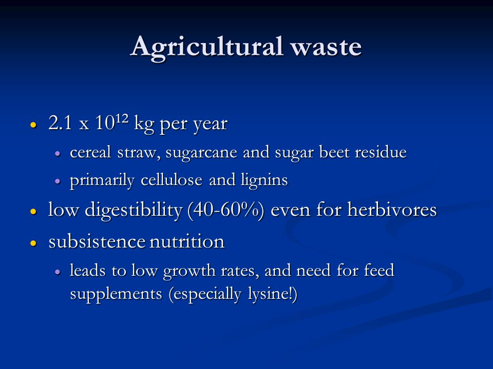 Agricultural waste  2.1 x 10 12 kg per year  cereal straw, sugarcane and sugar beet residue  primarily cellulose and lignins  low digestibility (40-60%) even for herbivores  subsistence nutrition  leads to low growth rates, and need for feed supplements (especially lysine!)
