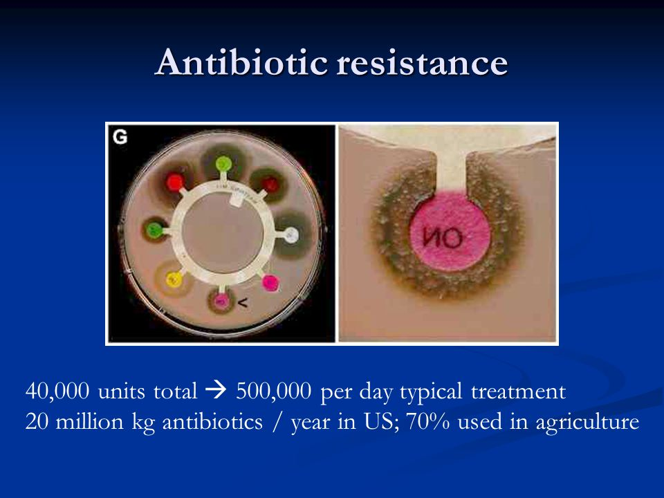 Antibiotic resistance 40,000 units total  500,000 per day typical treatment 20 million kg antibiotics / year in US; 70% used in agriculture