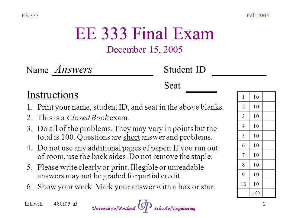 Fall 2005 1 EE 333 Lillevik480f05-a3 University of Portland School of Engineering EE 333 Final Exam December 15, 2005 Instructions 1.Print your name, student ID, and seat in the above blanks.