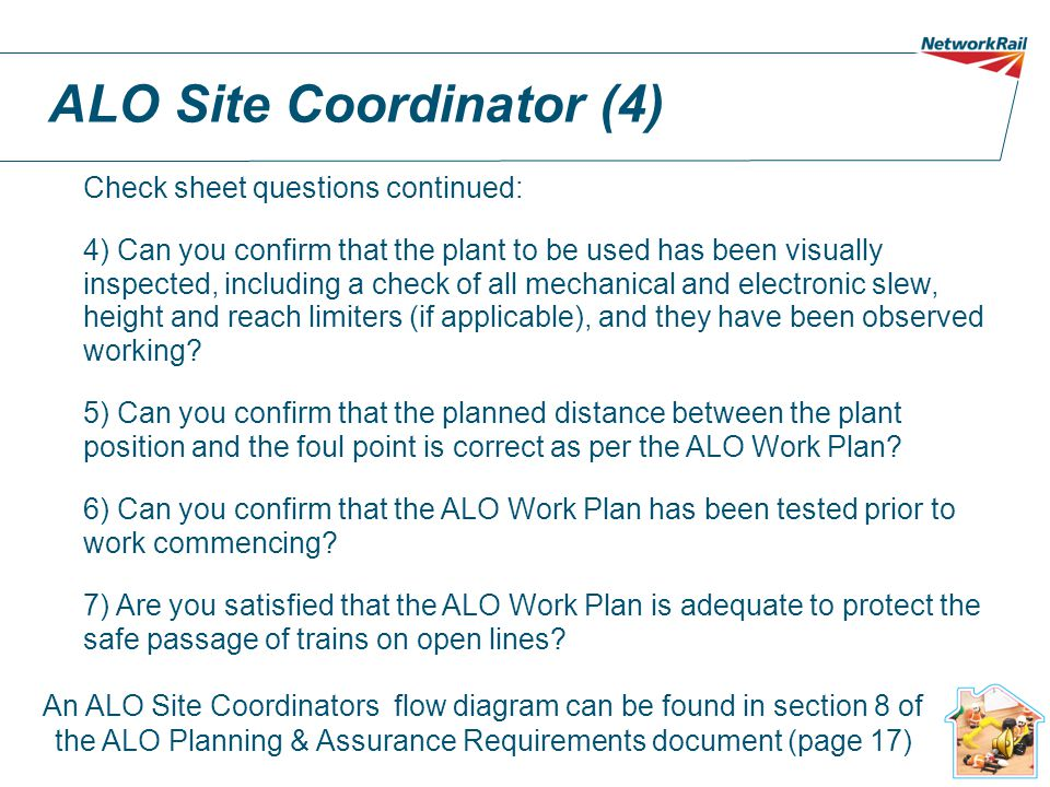 ALO Site Coordinator (3) Check sheet questions: 1)Can you confirm that you have received a copy of the ALO work plan containing the relevant authorisation numbers from the ALO Responsible Manger and that plan matches the site of work.