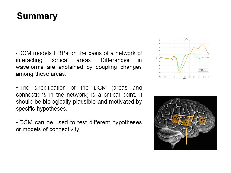 Summary DCM models ERPs on the basis of a network of interacting cortical areas.
