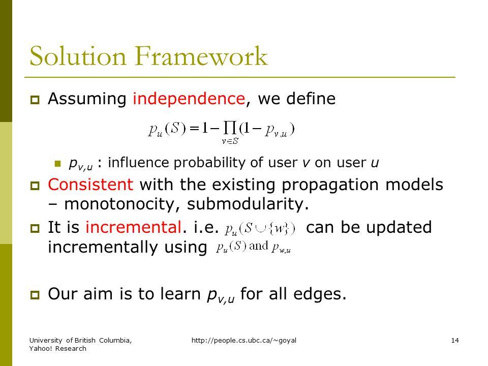 Solution Framework  Assuming independence, we define p v,u : influence probability of user v on user u  Consistent with the existing propagation mod