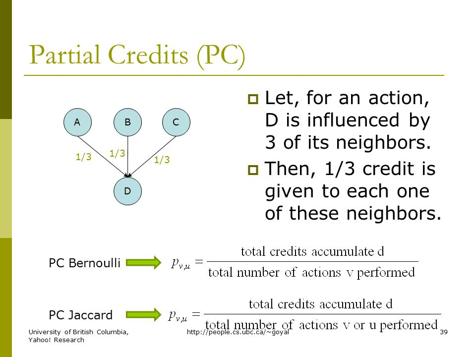 Partial Credits (PC)  Let, for an action, D is influenced by 3 of its neighbors.