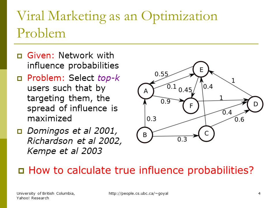 Influence Models  Static Models Assume that influence probabilities are static and do not change over time.