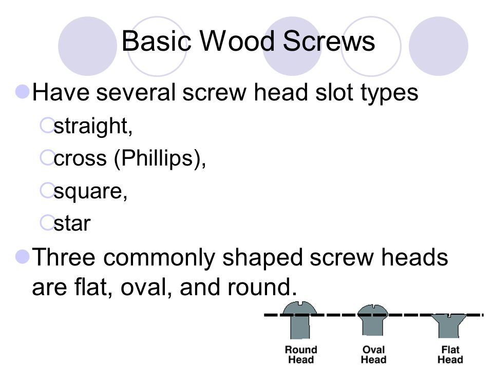 Basic Wood Screws Have several screw head slot types  straight,  cross (Phillips),  square,  star Three commonly shaped screw heads are flat, oval, and round.