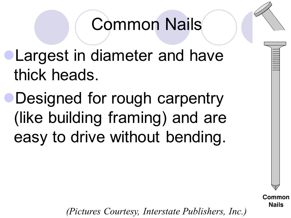 Common Nails Largest in diameter and have thick heads. Designed for rough carpentry (like building framing) and are easy to drive without bending. (Pi