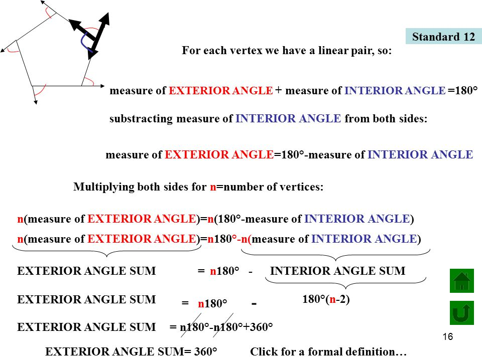 16 For each vertex we have a linear pair, so: measure of EXTERIOR ANGLE + measure of INTERIOR ANGLE =180° substracting measure of INTERIOR ANGLE from both sides: measure of EXTERIOR ANGLE=180°-measure of INTERIOR ANGLE Multiplying both sides for n=number of vertices: n(measure of EXTERIOR ANGLE)=n(180°-measure of INTERIOR ANGLE) n(measure of EXTERIOR ANGLE)=n180°-n(measure of INTERIOR ANGLE) n180° -EXTERIOR ANGLE SUM=INTERIOR ANGLE SUM = EXTERIOR ANGLE SUM n180° - 180°(n-2) EXTERIOR ANGLE SUM= n180°-n180°+360° EXTERIOR ANGLE SUM= 360° Standard 12 Click for a formal definition…