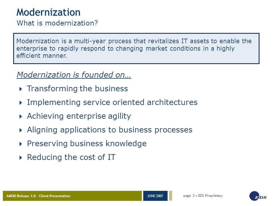 AMOD Release 1.0 – Client Presentation JUNE 2007 page 2 EDS Proprietary Modernization What is modernization.