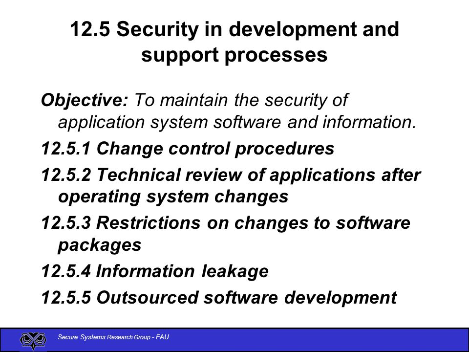 Secure Systems Research Group - FAU 12.5 Security in development and support processes Objective: To maintain the security of application system software and information.