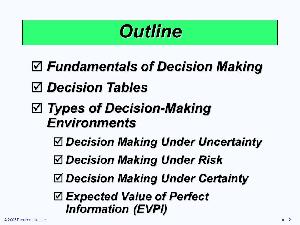 © 2006 Prentice Hall, Inc.A – 2 Outline  Fundamentals of Decision Making  Decision Tables  Types of Decision-Making Environments  Decision Making