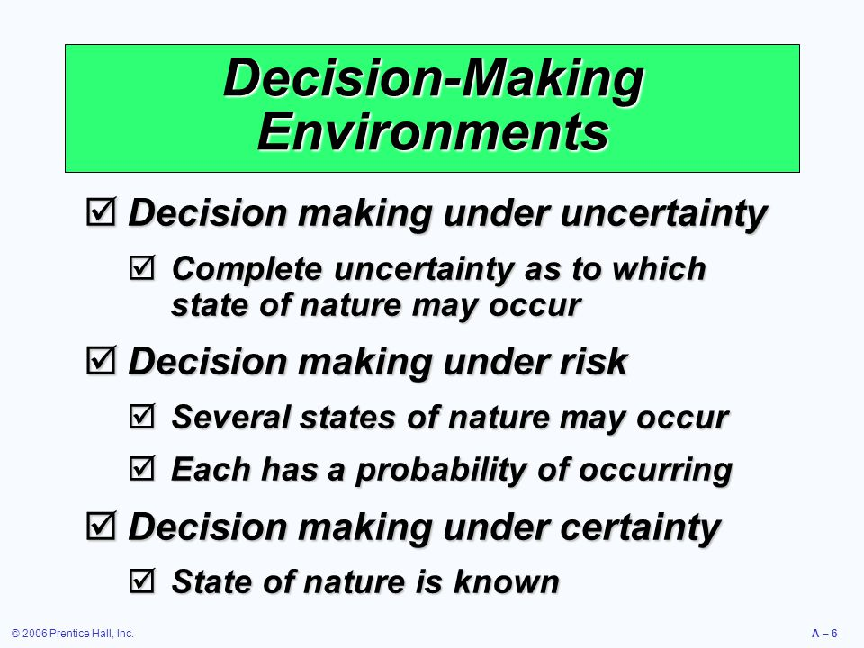 © 2006 Prentice Hall, Inc.A – 6 Decision-Making Environments  Decision making under uncertainty  Complete uncertainty as to which state of nature ma