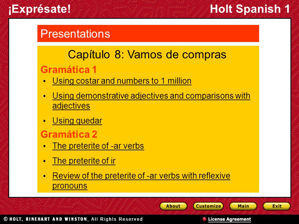 ¡Exprésate!Holt Spanish 1 Gramática 1 Capítulo 8: Vamos de compras Presentations Using costar and numbers to 1 million Using demonstrative adjectives