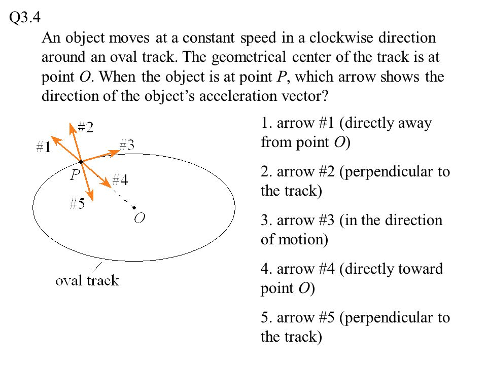 An object moves at a constant speed in a clockwise direction around an oval track. The geometrical center of the track is at point O. When the object