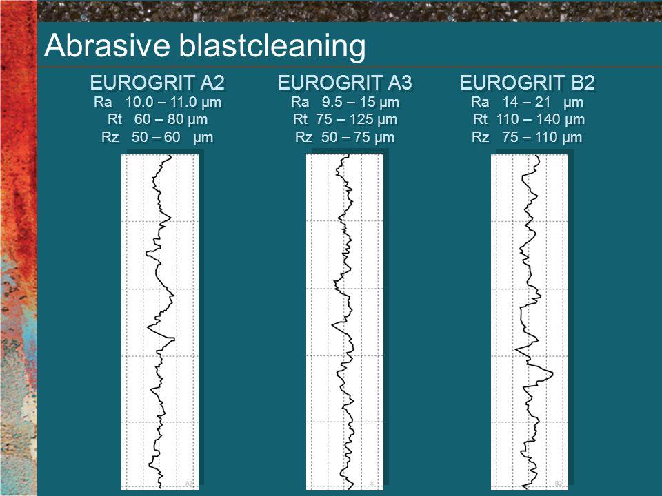 Abrasive blastcleaning EUROGRIT A2 Ra 10.0 – 11.0 µm Rt 60 – 80 µm Rz 50 – 60 µm Ra 10.0 – 11.0 µm Rt 60 – 80 µm Rz 50 – 60 µm EUROGRIT A3 Ra 9.5 – 15