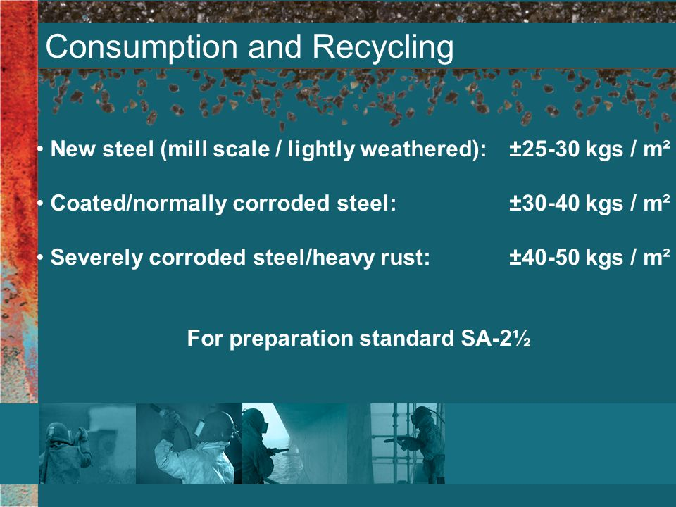 Consumption and Recycling New steel (mill scale / lightly weathered): ±25-30 kgs / m² Coated/normally corroded steel: ±30-40 kgs / m² Severely corroded steel/heavy rust: ±40-50 kgs / m² For preparation standard SA-2½