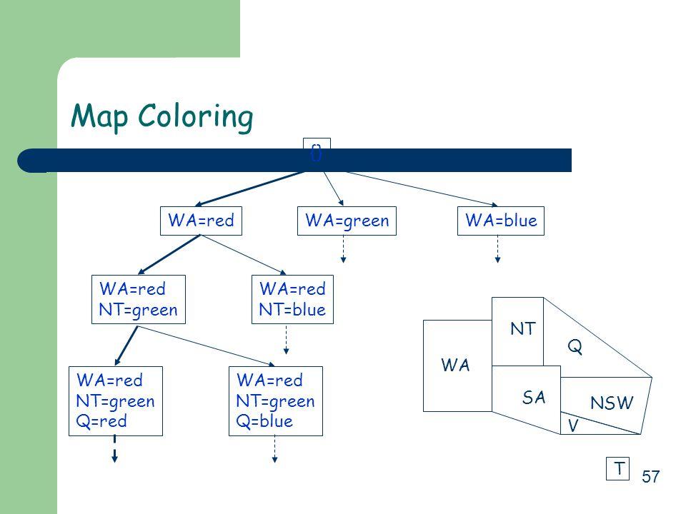 57 Map Coloring {} WA=redWA=greenWA=blue WA=red NT=green WA=red NT=blue WA=red NT=green Q=red WA=red NT=green Q=blue WA NT SA Q NSW V T