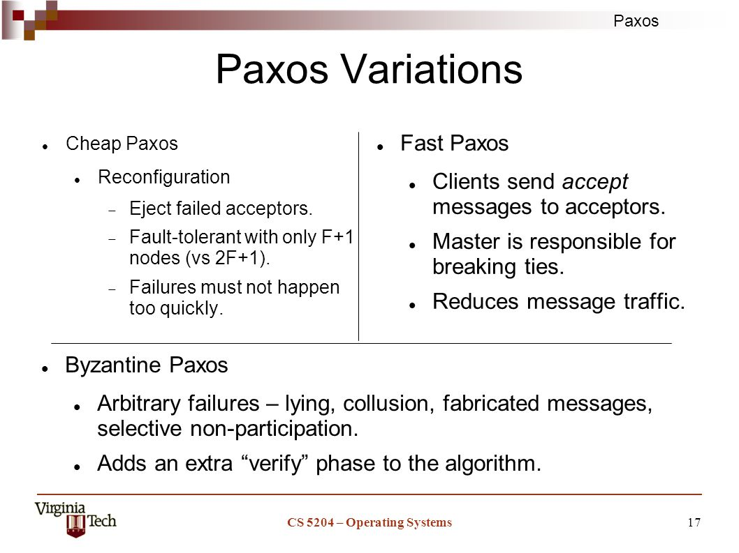 Paxos CS 5204 – Operating Systems17 Paxos Variations Cheap Paxos Reconfiguration  Eject failed acceptors.
