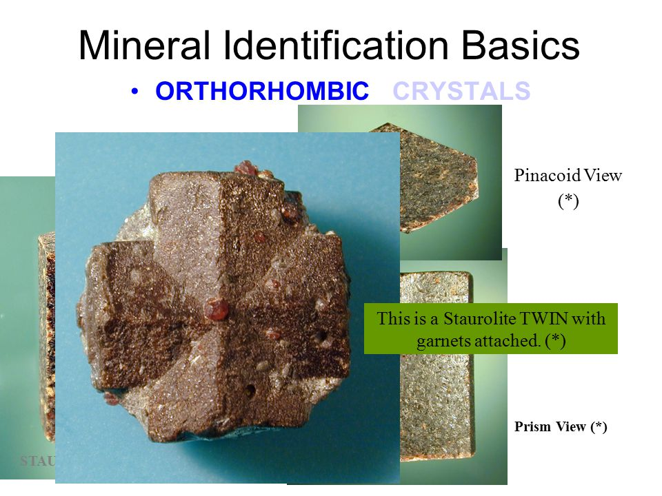 "Mineral Identification Basics ORTHORHOMBIC CRYSTALS The view above is looking down the ""c"" axis of the crystal. (*) C axis B axis A axis BARITE is als"