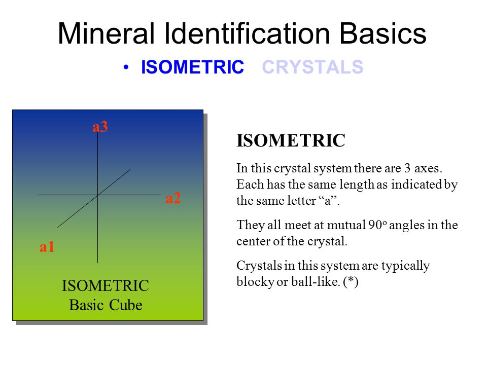 Mineral Identification Basics ISOMETRIC CRYSTALS ISOMETRIC In this crystal system there are 3 axes.