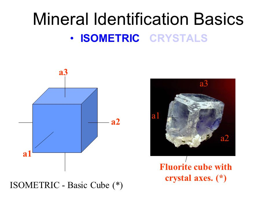 Mineral Identification Basics ISOMETRIC CRYSTALS ISOMETRIC Crystal Model (*) Within this ISOMETRIC crystal model is the OCTAHEDRAL crystal form (yellow) and the TETRAHEDRAL crystal form (shown by the black lines).