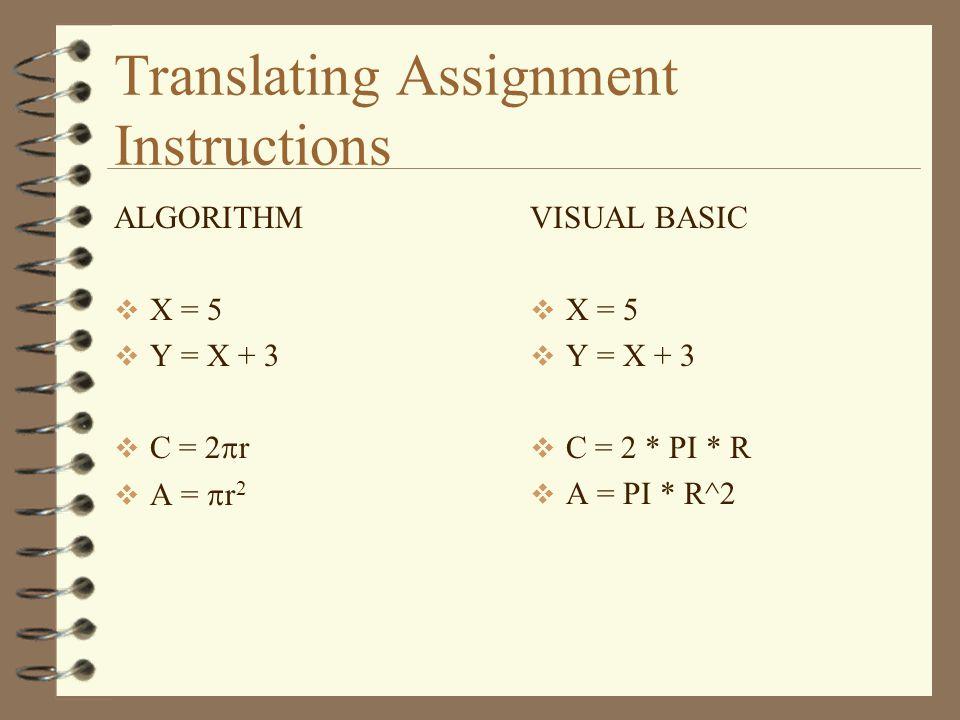 Translating Assignment Instructions ALGORITHM  X = 5  Y = X + 3  C = 2  r  A =  r 2 VISUAL BASIC  X = 5  Y = X + 3  C = 2 * PI * R  A = PI * R^2