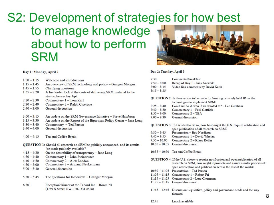 S2: Development of strategies for how best to manage knowledge about how to perform SRM 8