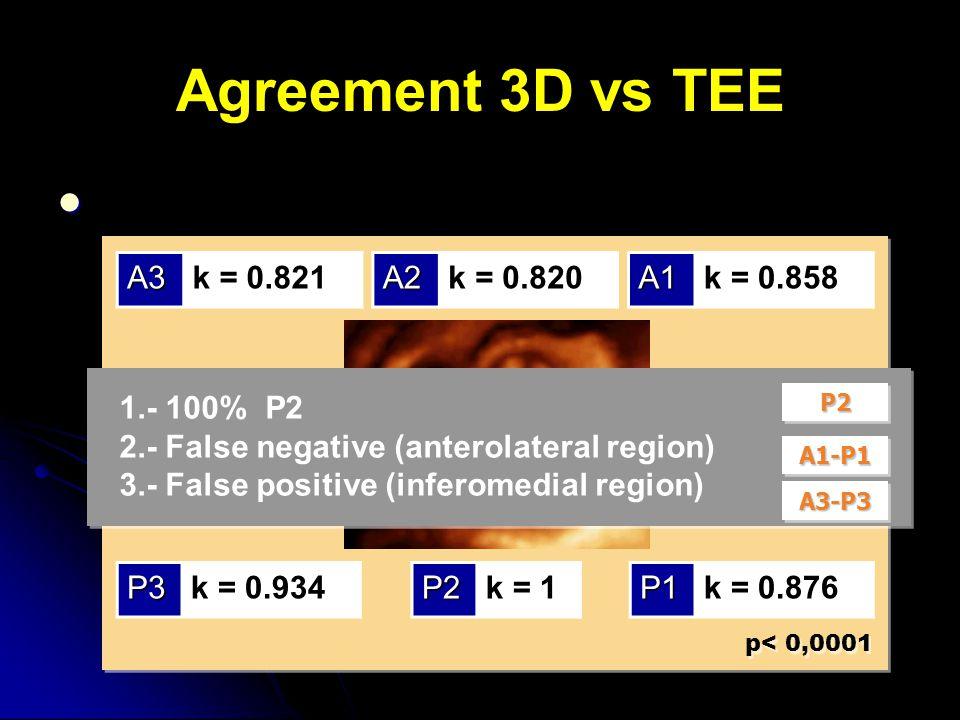 Agreement 3D vs TEE p< 0,0001 P2k = 1 A2k = 0.820 P3k = 0.934P1k = 0.876 A1k = 0.858A3k = 0.821 P2P2 A1-P1A1-P1 A3-P3A3-P3 1.- 100% P2 2.- False negative (anterolateral region) 3.- False positive (inferomedial region)